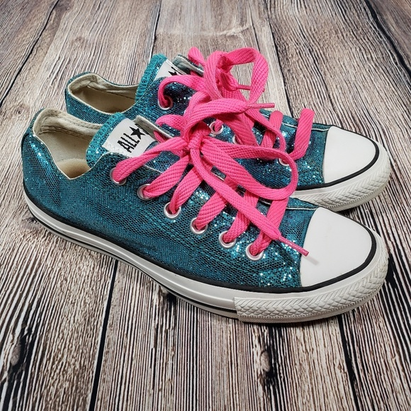 Converse Shoes   Teal Glitter Size 8